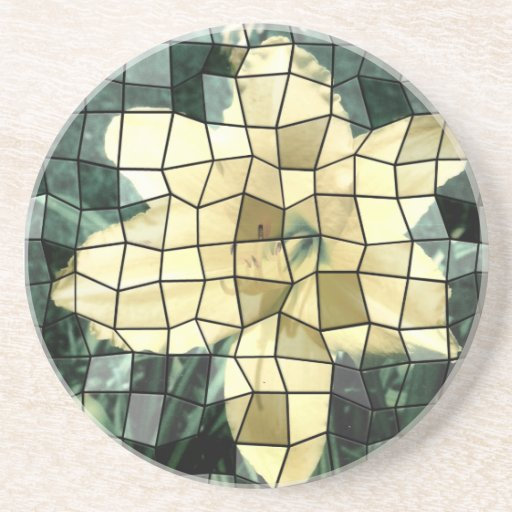 Yellow Lily Mosaic Picture Drink Coasters