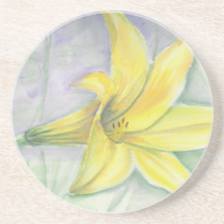 Yellow Lily Painting in Acrylic Drink Coaster