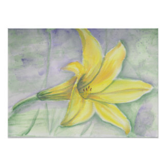 Yellow Lily Painting in Acrylic Poster