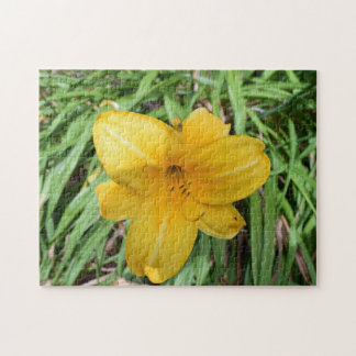 Yellow lily up close photo puzzle