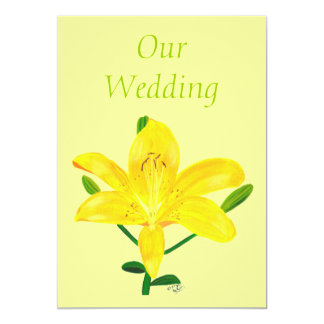 Yellow Lily Wedding Invitations