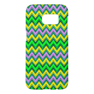 Yellow Lime and Lilac Aztec Chevron Stripes