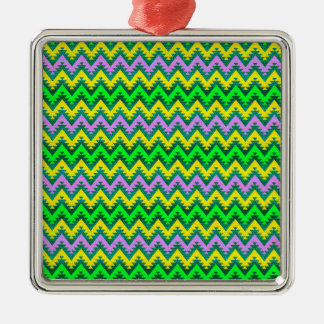 Yellow Lime and Lilac Aztec Chevron Stripes Christmas Ornament