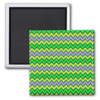 Yellow Lime and Lilac Aztec Chevron Stripes Magnet