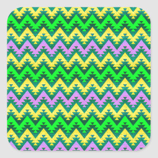 Yellow Lime and Lilac Aztec Chevron Stripes Square Sticker