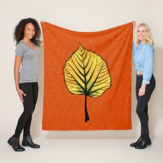 Yellow Linden Leaf On Orange Autumn Botanical Fleece Blanket