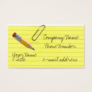 Yellow lined paper with paper clip business card