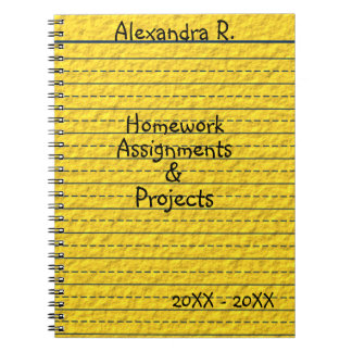 Yellow Lined School Paper Homework Assignments Note Books