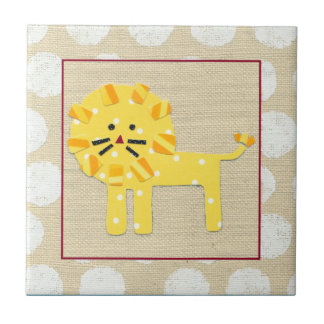 Yellow Lion with White Polka Dots Tile