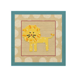 Yellow Lion with White Polka Dots Wood Print