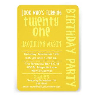 Yellow Look Who s Turning 21 Birthday Invitation