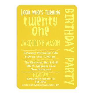 "Yellow Look Who's Turning 21 Birthday Invitation 5"" X 7"" Invitation Card"