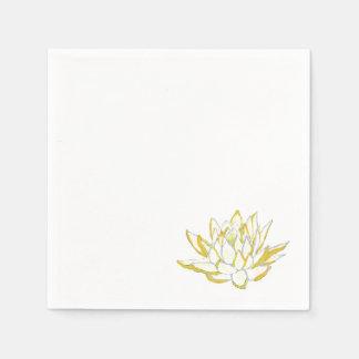 Yellow lotus watercolor paper napkins set