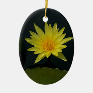 Yellow Lotus Waterlily Christmas Ornament