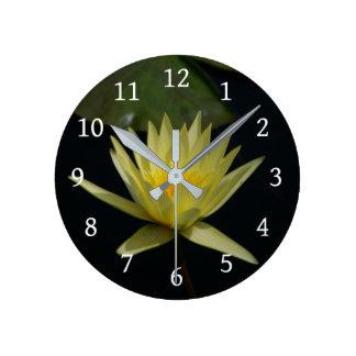 Yellow Lotus Waterlily Round Clock