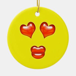 Yellow Love Emoji Custom Name Christmas Ornament
