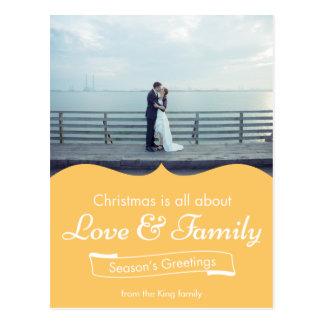Yellow Love & Family Photo Christmas Postcard