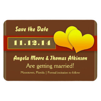 yellow love heart save the date magnet