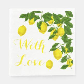 Yellow Love Lemon Green Wedding Party Disposable Napkins