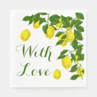 Yellow Love Lemon Green Wedding Party Disposable Serviette
