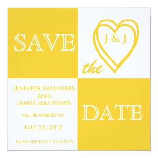 Yellow Love Monograms Save the Date Card