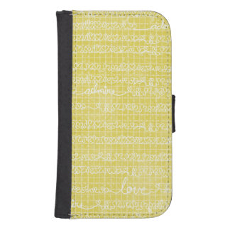 Yellow Love Words Phone Wallet Case