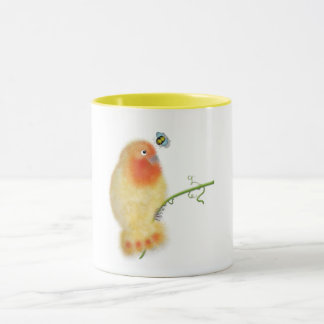Yellow lovebird mug by ORDesigns.