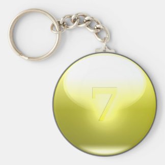 Yellow Lucky 7 Basic Round Button Key Ring