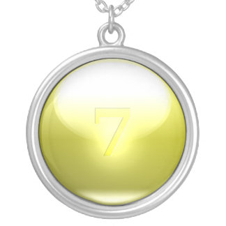 Yellow Lucky 7 Round Pendant Necklace