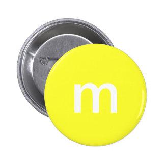 Yellow m&m pinback button