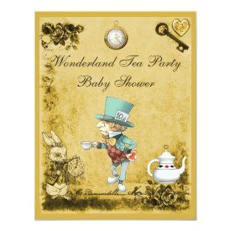 Yellow Mad Hatter Wonderland Tea Party Baby Shower 11 Cm X 14 Cm Invitation Card