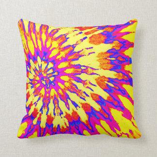 Yellow, Magenta and Orange Spiral Tie Dye Pillow