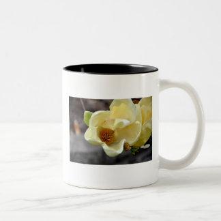 Yellow Magnolia Flower Two-Tone Coffee Mug