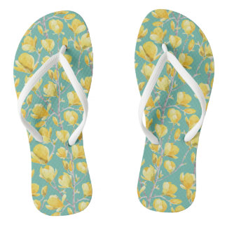 Yellow Magnolia Spring Bloom III Flip Flops