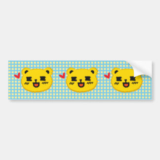 Yellow Manga Bear Car Bumper Sticker