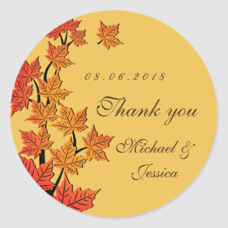 Yellow Maple Leaf Fall Autumn Wedding Sticker