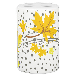 Yellow maple leaves and gray dots fall modern soap dispenser and toothbrush holder