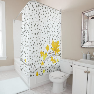 Yellow maple leaves and gray polka dots shower curtain