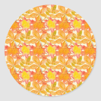 Yellow Maple Leaves Classic Round Sticker
