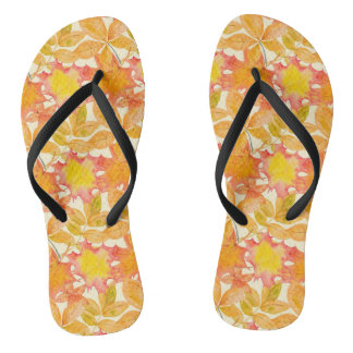 Yellow Maple Leaves Flip Flops