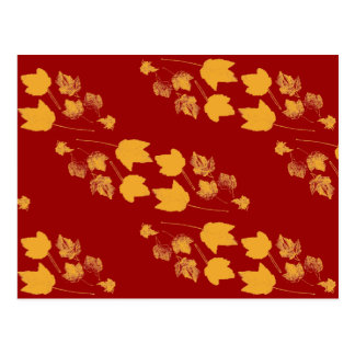 Yellow Maple Leaves Stamped Pattern on Dark Red Postcard