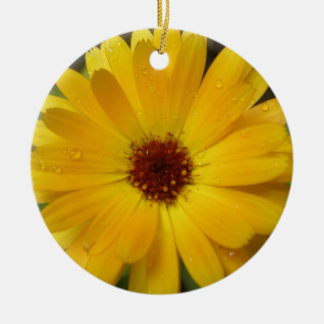 Yellow Marigold Macro Custom Birthday Round Ceramic Decoration