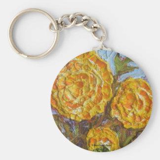 Yellow Marigolds Basic Round Button Key Ring