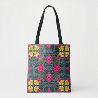 Yellow Marigolds Pink Petunias Green Leaves 5 Tote Bag