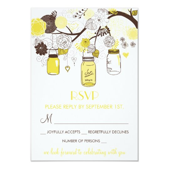 Yellow Mason Jars Summer Wedding Floral RSVP Card