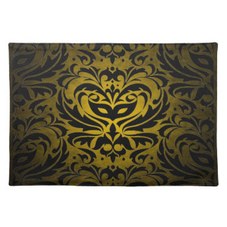 Yellow Masquerade Damask Stylish Placemat