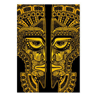 Yellow Mayan Twins Mask Illusion on Black Pack Of Chubby Business Cards