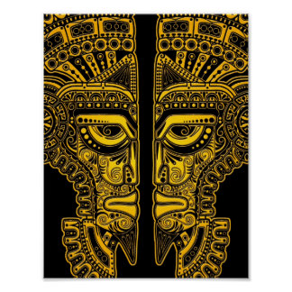 Yellow Mayan Twins Mask Illusion on Black Poster