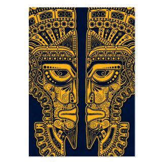 Yellow Mayan Twins Mask Illusion on Blue Business Card