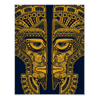 Yellow Mayan Twins Mask Illusion on Blue Poster